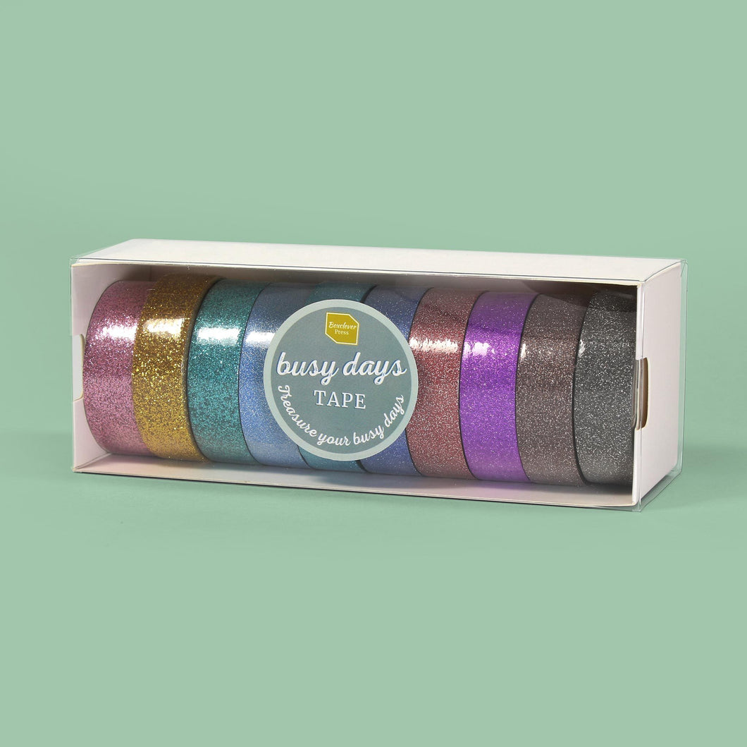 Busy_Days_Glitter_Category 10 rolls of colourful Busy Days glitter tape in a white rectangular box