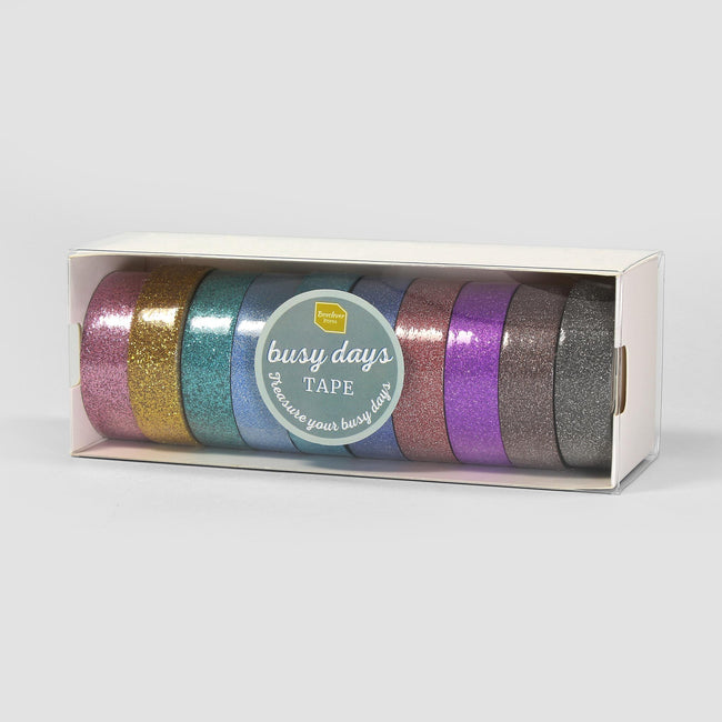 Busy_Days_Glitter_Gallery_1 10 rolls of Busy Days colourful glitter tape with different textured glitter in a white rectangular box