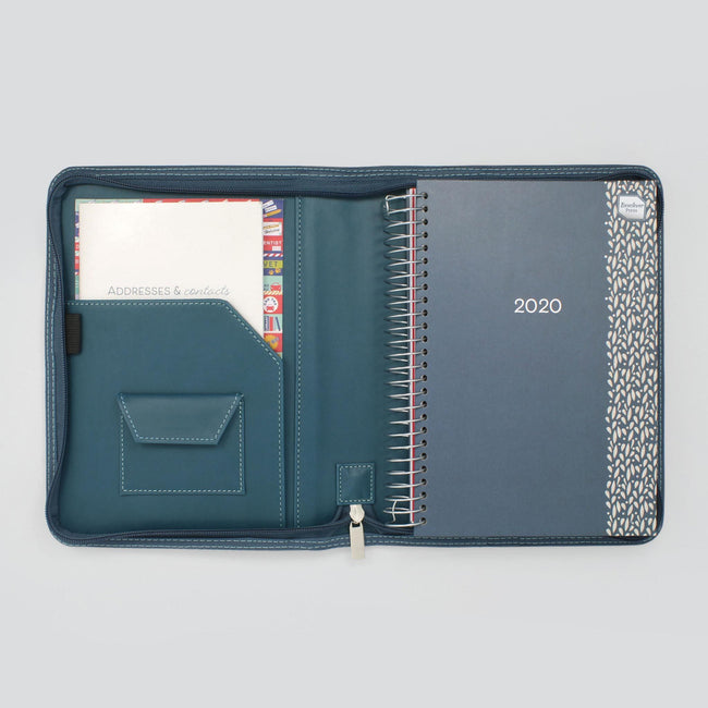 Blue 2020 A5 diary with foil and silver binding in blue faux leather cover with pocket, address book and stickers