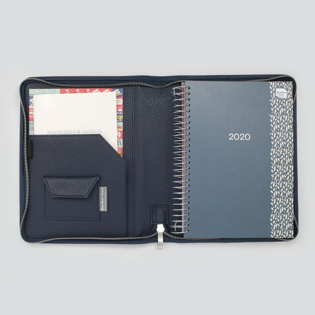 Midnight blue textured diary cover with A5 diary and paperwork pocket with small velcro pocket on left hand side
