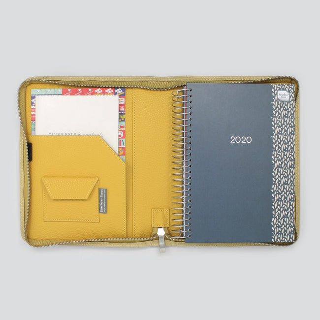 Blue A5 Life Book Diary organiser in mustard yellow textured diary cover with zip and notebook