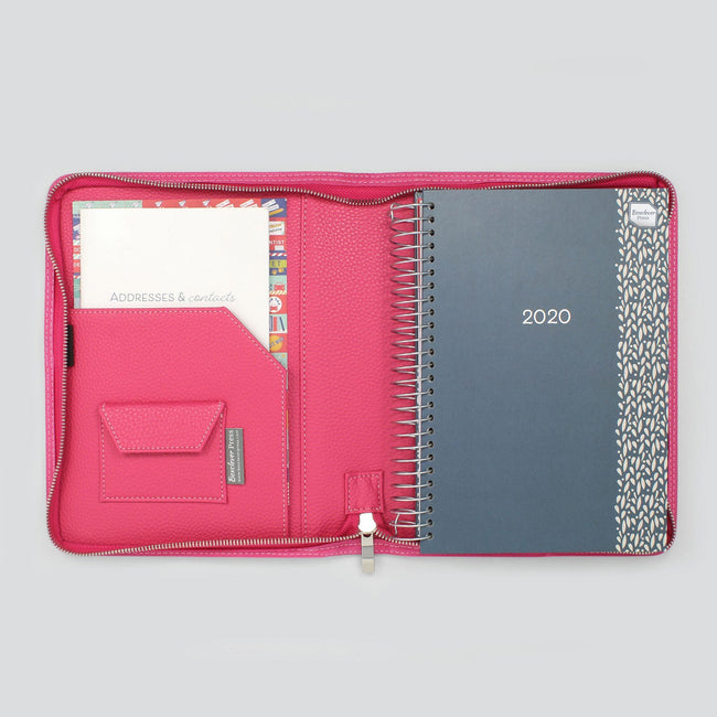 Bright raspberry pink diary cover with notepad in left pocket, small velco pocket and Life Book diary on right
