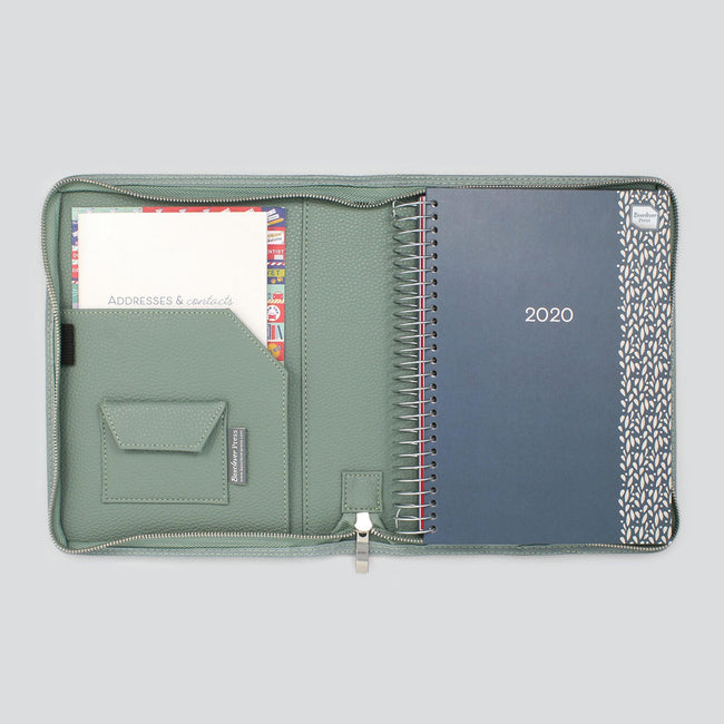 Blue A5 Life Book Diary organiser in light sage green textured diary cover with zip and notebook for NHS nurses