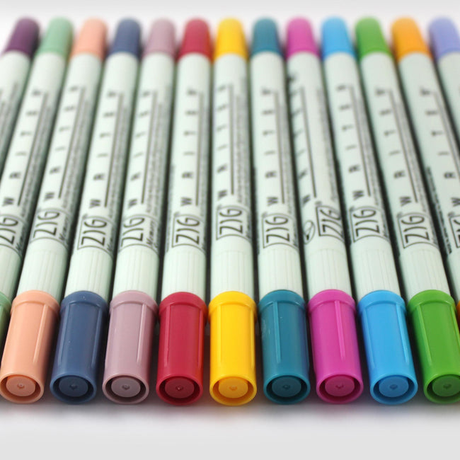 PEN_ZIG_Category Brightly coloured double ended Kuretake Zig writing pens colours include coral, baby blue and rose
