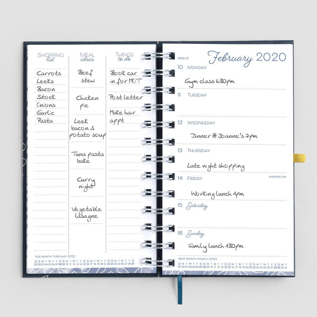 Inside the Pocket Life Book 2020 diary week to view spread with writing and meal plans