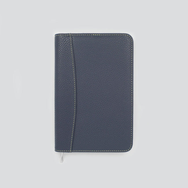 Slimline diary cover in dark midnight blue on a grey background