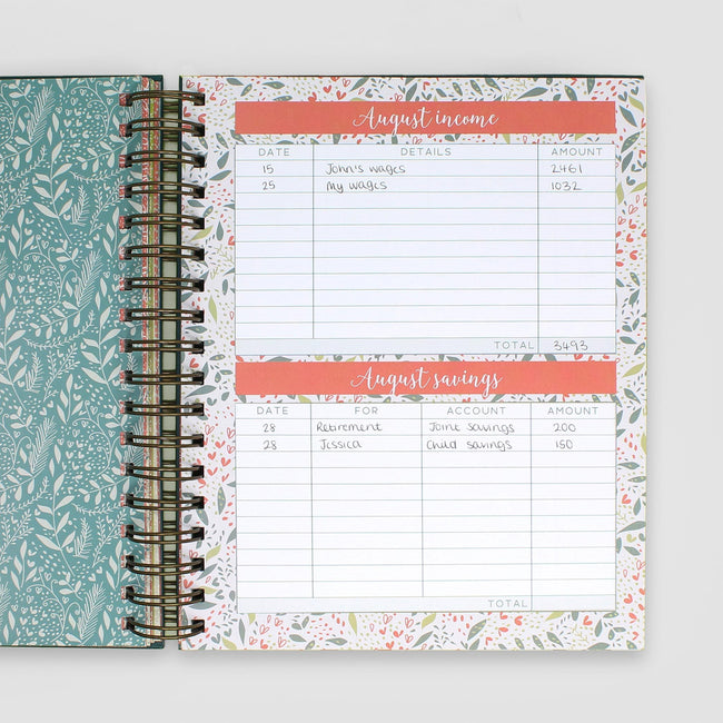 Budget planner monthly budget page for August showing expenses and savings balance on pretty floral background