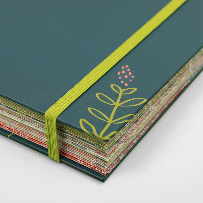 Family accounts book with dark green cover and floral decoration. Close up of the Big Budget Book Budget planner from Boxclever Press with lime green elastic bandeau on teal cover on grey background.