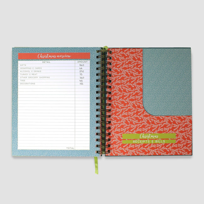 Budget planner book receipt pockets decorated with a floral pattern and Christmas budget page