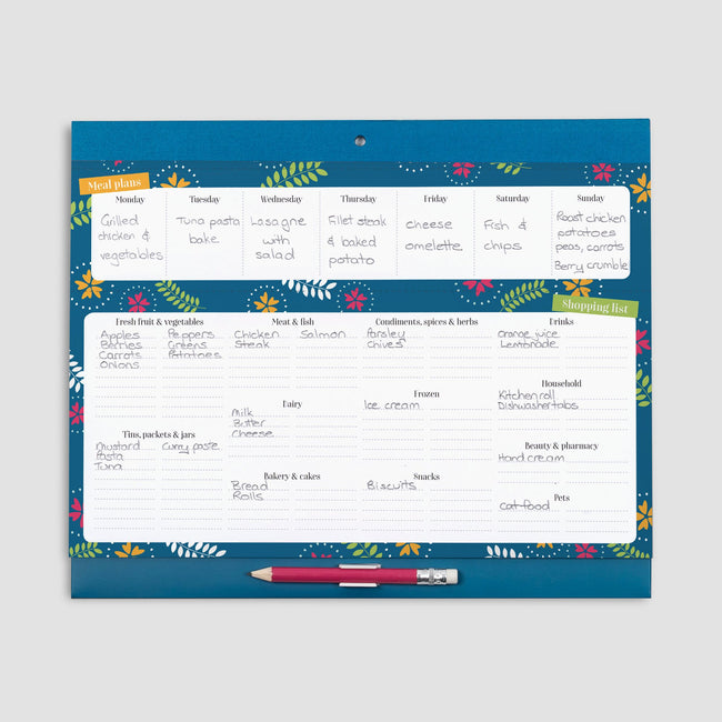 Weekly meal planner for family with space for 7 days and perforated shopping list with floral pattern on blue