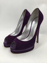 Load image into Gallery viewer, Casadei 37 Purple Suede Platform Peep-toe Pumps