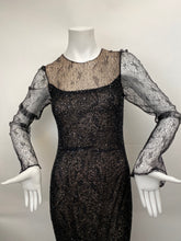 Load image into Gallery viewer, Vintage Kevan Hall Size 10 Intrically Beaded and Sequined Black Gown