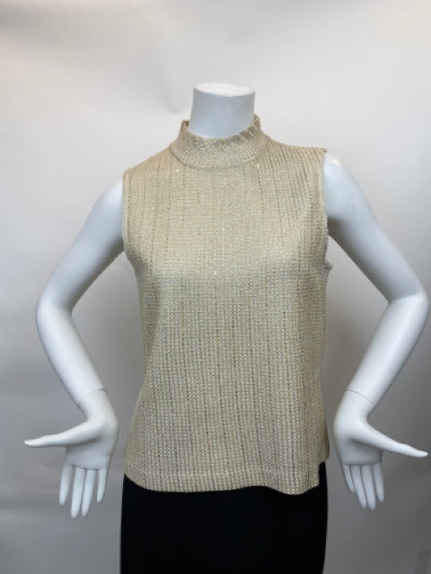 St. John Taupe Sequined Metallic Mock Neck Evening Top - Size M