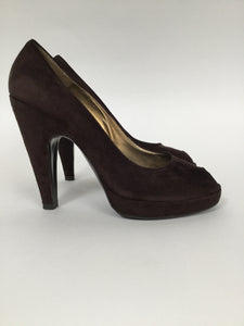 Prada 39.5 Brown Suede Peep Toe Platform Pumps