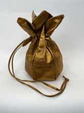 Load image into Gallery viewer, Vintage Gold Draw String Flower Bag - 100% Leather