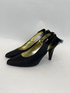 Charles Jourdan Decorative Runway Size 8.5 Black & Gold Pumps - Vintage
