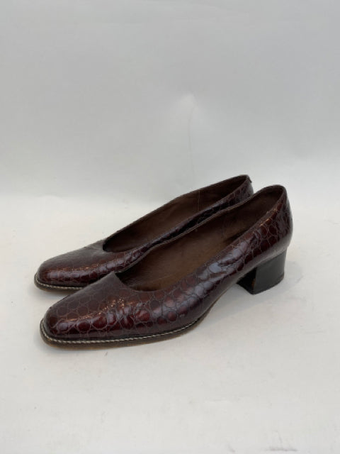 Vintage Delias Firenze Crocodile Size 8.5 Dark Brown  Block Heel Pumps