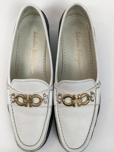 Salvatore Ferragamo 8 B Navy & White Loafers