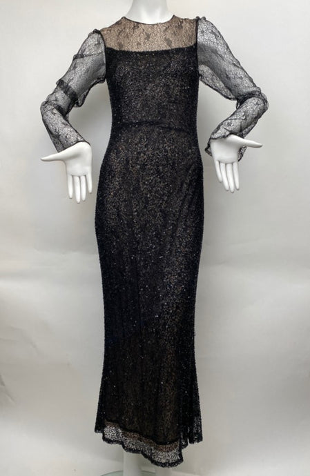 Vintage Kevan Hall Size 10 Intrically Beaded and Sequined Black Gown
