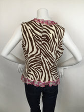 Load image into Gallery viewer, Valentino Roma Zebra Print Cream Print Silk  Dress Top - Size 10