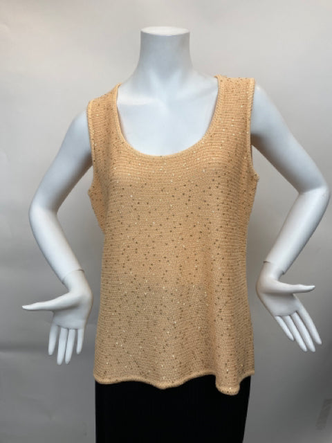 St John Fabulous Sequined  Peach Knit Top - Size Large
