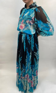 A-K-R-I-S- ( AKRIS ) Multi-Color 2 PC Vintage Blouse and Skirt Dress