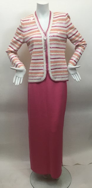 St. John Evening Size 6 Pink & White Gown/Evening Wear