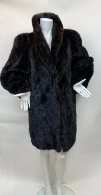 Vintage Size M Black Tail Mink Fur Stroller Coat