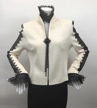 Load image into Gallery viewer, St. John Evening Vintage Size 8 Black & Cream Jacket with Lace Trim
