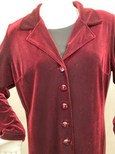 Load image into Gallery viewer, Vintage Size 14 Burgundy Maxi Velveteen Coat