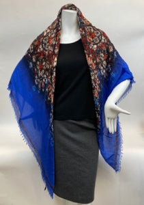 Alexander McQueen Stained Glass Scarf with Blue Border