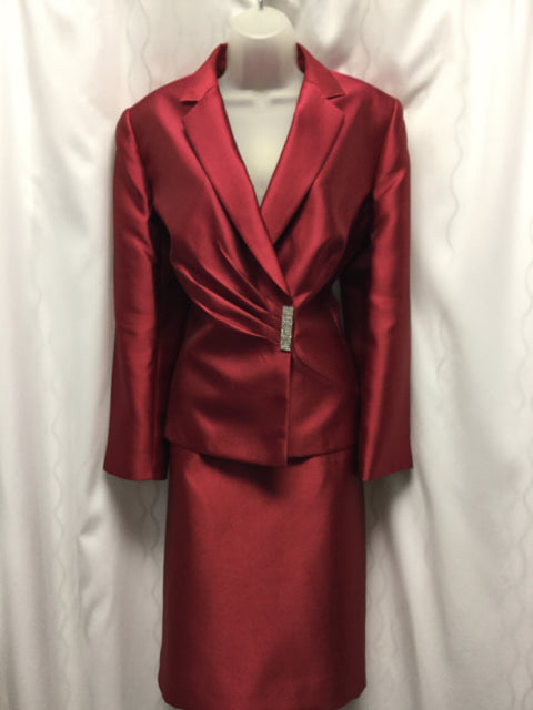 TAHARI Arthur Levine LUXE Size 12 Red Skirt Suit