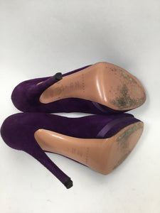 Casadei 37 Purple Suede Platform Peep-toe Pumps