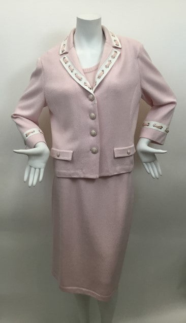 St. John Collection Size M Pink & White Skirt Suit