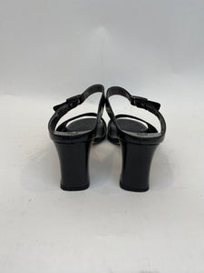 Franco Visconti Size  36.5 Black Strappy Heeled Slide Sandals