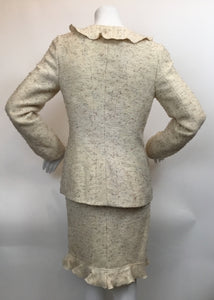 Chanel Size 40 Vintage Cream Tweed Skirt Suit