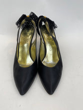 Load image into Gallery viewer, Charles Jourdan Decorative Runway Size 8.5 Black & Gold Pumps - Vintage