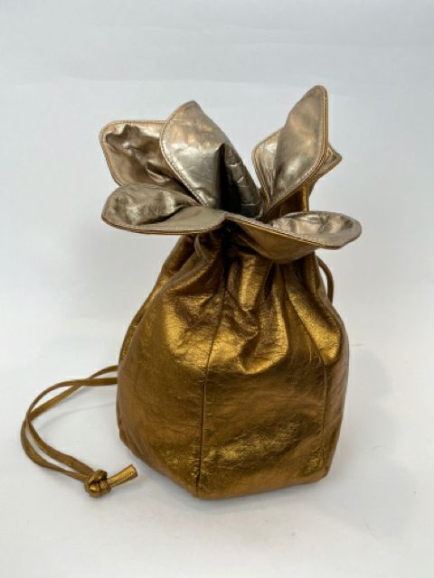 Vintage Gold Draw String Flower Bag - 100% Leather