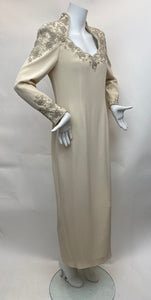 Oleg Cassini Black Tie Size 10 Ivory Beaded Gown - Vintage