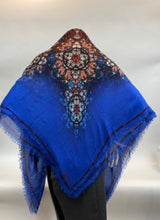 Load image into Gallery viewer, Alexander McQueen Stained Glass Scarf with Blue Border