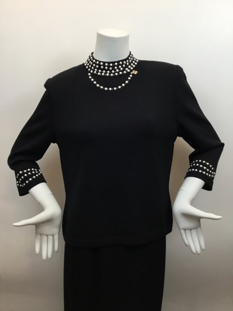 St. John Evening Size 10 Black Dress Top