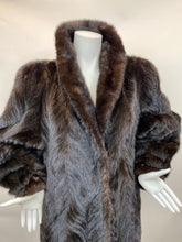 Load image into Gallery viewer, Vintage Size M Black Tail Mink Fur Stroller Coat