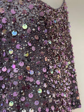 Load image into Gallery viewer, Ellen Tracy Size 14 Purple Sequin Dress Top