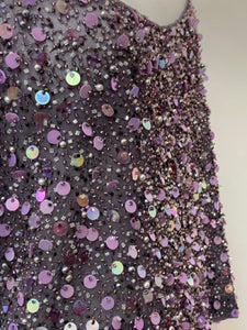 Ellen Tracy Size 14 Purple Sequin Dress Top