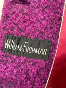 Fabulous 1967 Vintage  William Frohman Walking Suit - 100% Wool with Fox Fur Tri