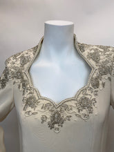 Load image into Gallery viewer, Oleg Cassini Black Tie Size 10 Ivory Beaded Gown - Vintage
