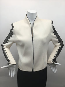 St. John Evening Vintage Size 8 Black & Cream Jacket with Lace Trim