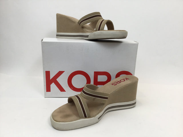 Michael Kors Khaki Combo Canvas Sneaker  Wedge Slides - Size 9.5 Sandals