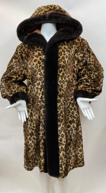 Apropos Faux Leopard Reversible Coat with Hood - Vintage