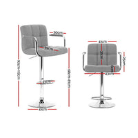 Artiss 2x Bar Stools Kitchen Bar Stool Chairs Gas Lift Swivel Fabric Chrome Grey